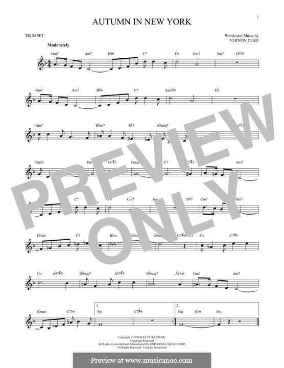 Autumn in New York: For trumpet by Vernon Duke