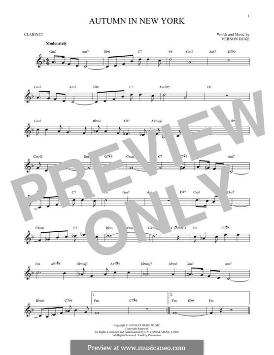 Autumn in New York: For clarinet by Vernon Duke