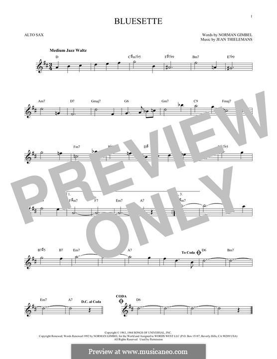 Bluesette: For alto saxophone by Jean Thielemans