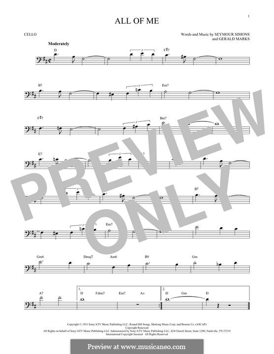 All of Me: For cello by Seymour Simons, Gerald Marks