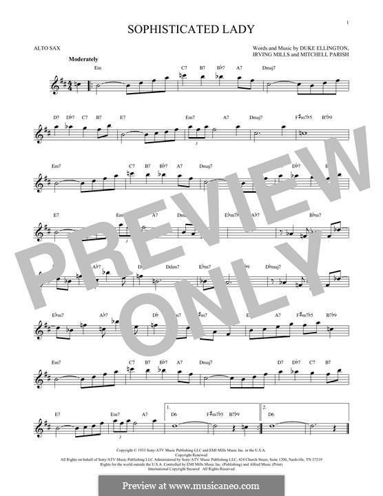 Sophisticated Lady: For alto saxophone by Irving Mills, Duke Ellington, Mitchell Parish