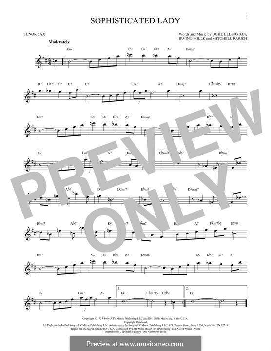 Sophisticated Lady: For tenor saxophone by Irving Mills, Duke Ellington, Mitchell Parish