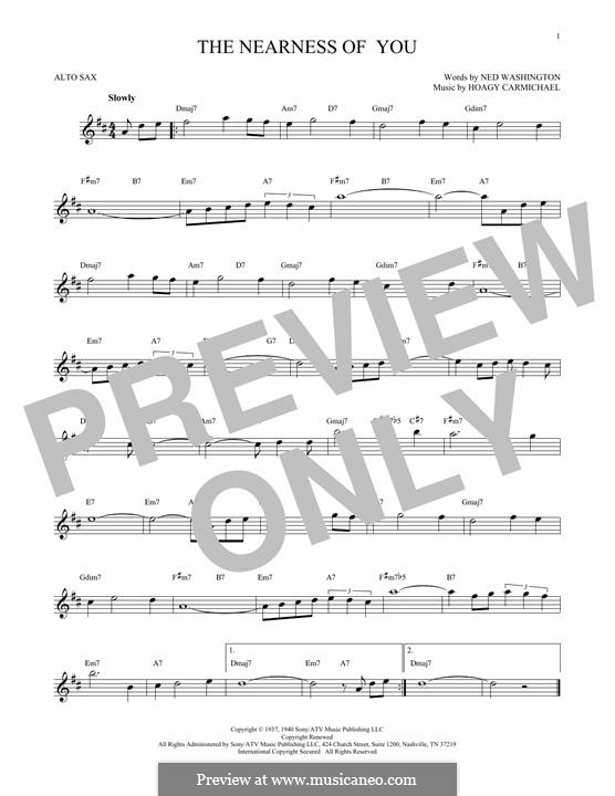 The Nearness of You: For alto saxophone by Hoagy Carmichael