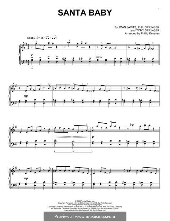 Santa Baby (Eartha Kitt): For piano by Joan Javits, Philip Springer, Tony Springer