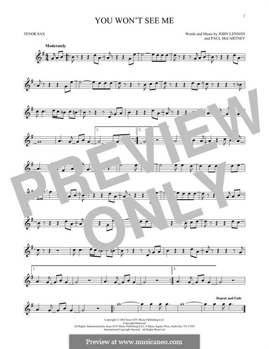 You Won't See Me (The Beatles): For tenor saxophone by John Lennon, Paul McCartney