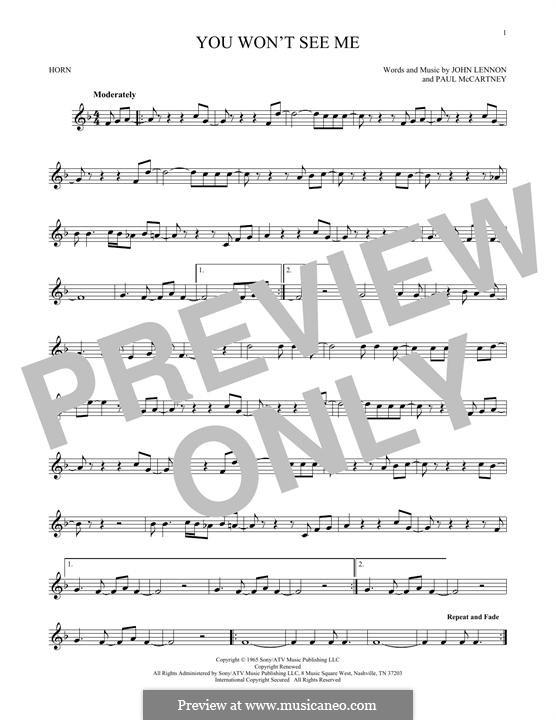 You Won't See Me (The Beatles): For horn by John Lennon, Paul McCartney