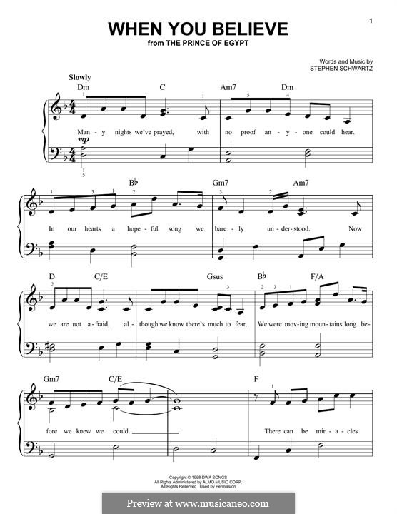 When You Believe (from The Prince of Egypt): For piano by Stephen Schwartz