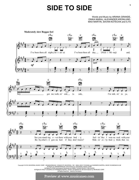 Side To Side (feat. Nicki Minaj): For voice and piano (or guitar) by Alexander Kronlund, Max Martin, Onika Maraj, Savan Kotecha, Ariana Grande, Ilya