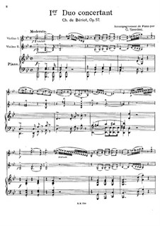 Three Concert Duos, Op.57: No.1 for two violins with piano accompaniment by Charles Auguste de Beriot