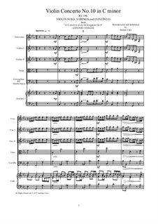 La stravaganza. Twelve Violin Concertos, Op.4: Violin Concerto No.10 in C Minor – score and parts, RV 196 by Antonio Vivaldi