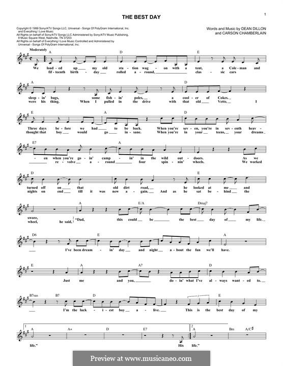 The Best Day (George Strait): Lyrics and chords by Dean Dillon, Carson Chamberlain