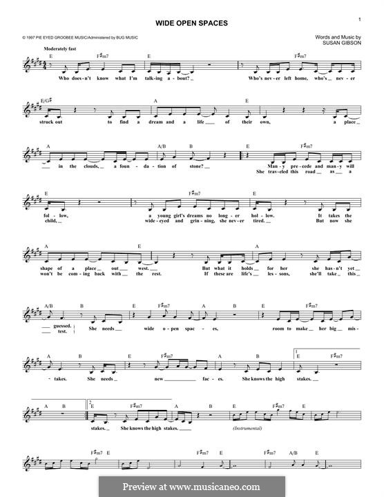 Wide Open Spaces Dixie Chicks By S Gibson Sheet Music On Musicaneo