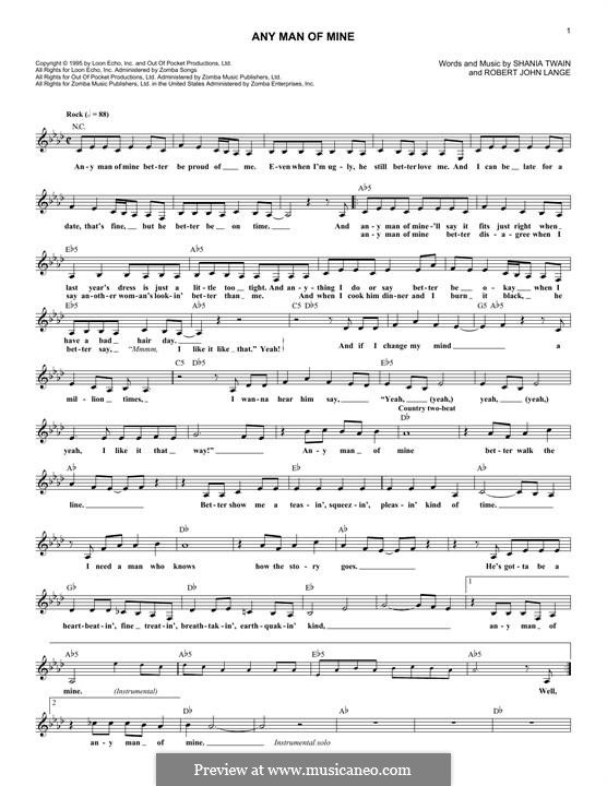 Any Man Of Mine By Rj Lange Sheet Music On Musicaneo