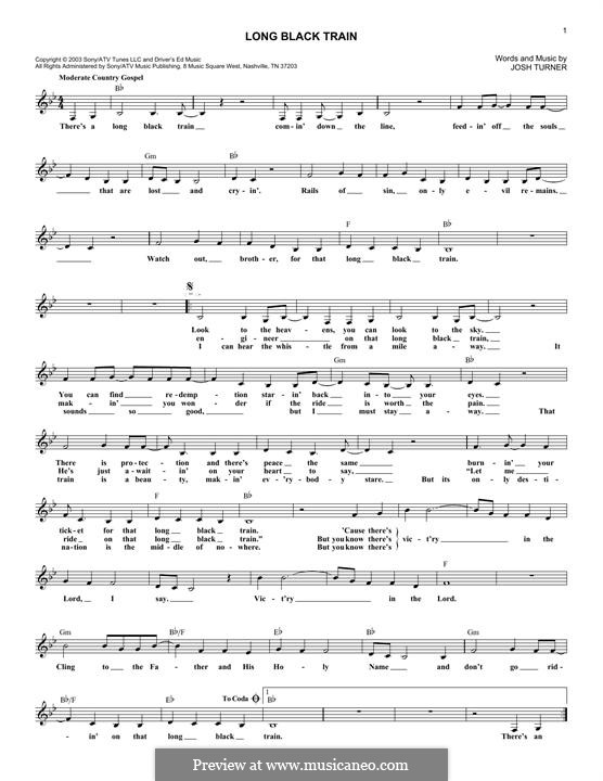 Long Black Train By J Turner Sheet Music On Musicaneo