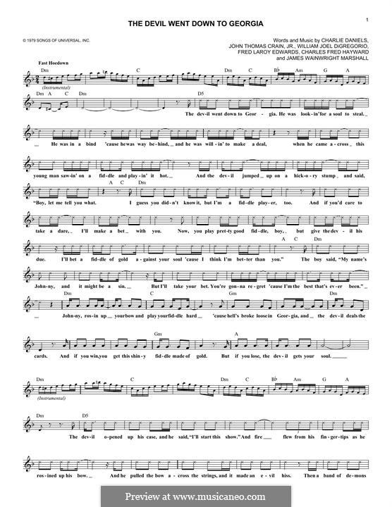 The Devil Went Down to Georgia (Charlie Daniels Band): Lyrics and chords by Charles Fred Hayward, Charlie Daniels, Fred Laroy Edwards, James Wainwright Marshall, John Thomas Crain Jr., William Joel DiGregorio