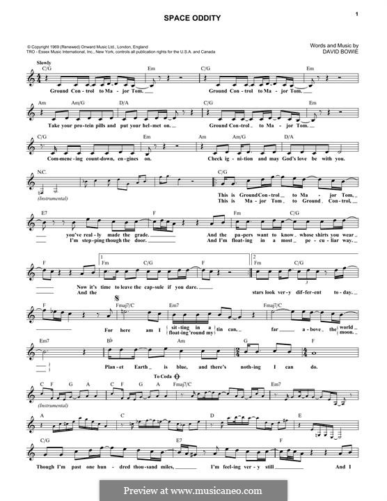 Space Oddity by D. Bowie - sheet music on MusicaNeo