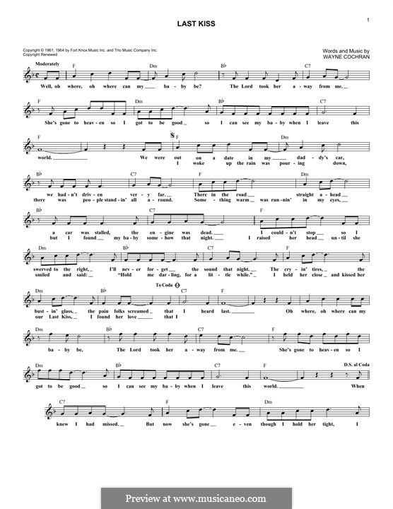 Last Kiss (J. Frank Wilson): Melody line (Pearl Jam) by Wayne Cochran