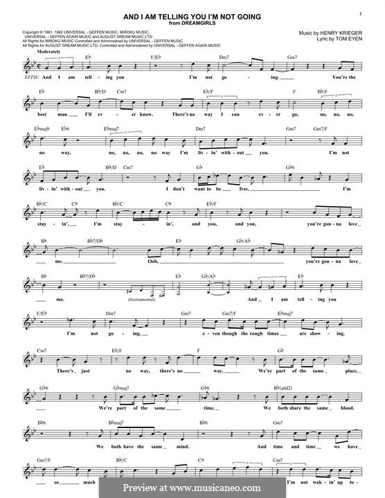 And I am Telling You I'm Not Going (Jennifer Hudson): Lyrics and chords by Henry Krieger