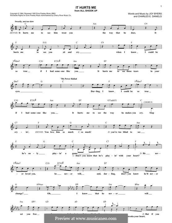 It Hurts Me (Elvis Presley): Lyrics and chords by Charlie Daniels, Joy Byers