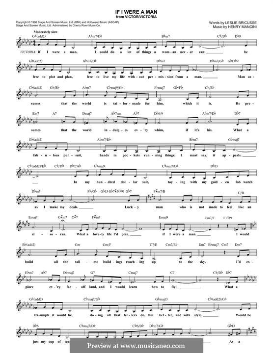 If I Were a Man: Lyrics and chords by Henry Mancini