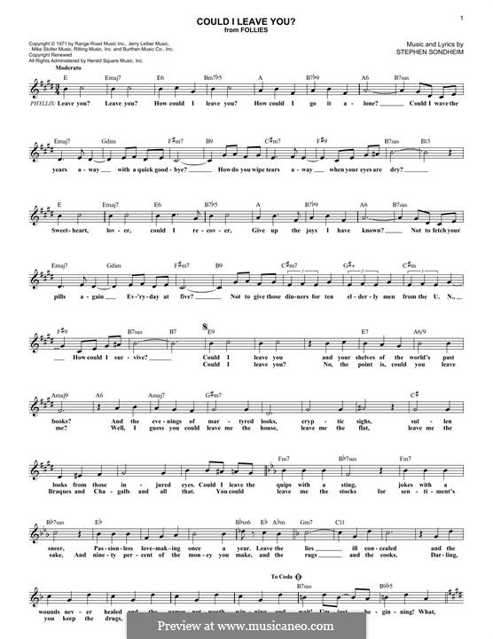 Could I Leave You?: Melody line by Stephen Sondheim