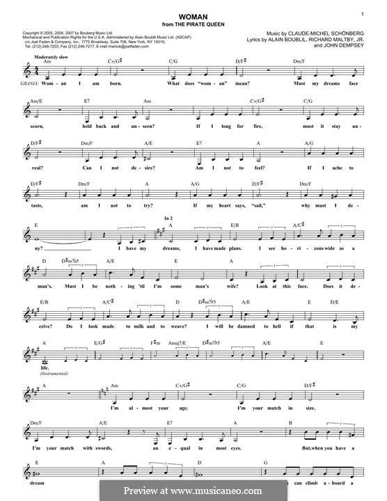 Woman: Melody line by Claude-Michel Schönberg