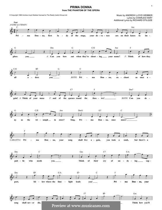 Prima Donna: Lyrics and chords by Andrew Lloyd Webber