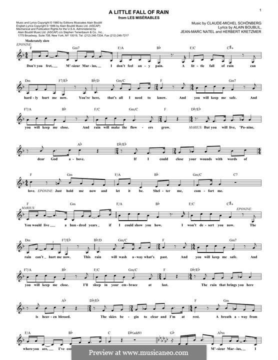 A Little Fall of Rain: Melody line by Claude-Michel Schönberg