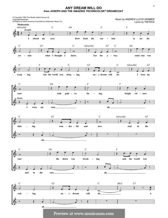 Any Dream Will Do: Lyrics and chords by Andrew Lloyd Webber