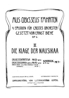 Aus Odysseus' Fahrten, Op.6: Teil III Die Klage der Nausikaa by Ernst Boehe