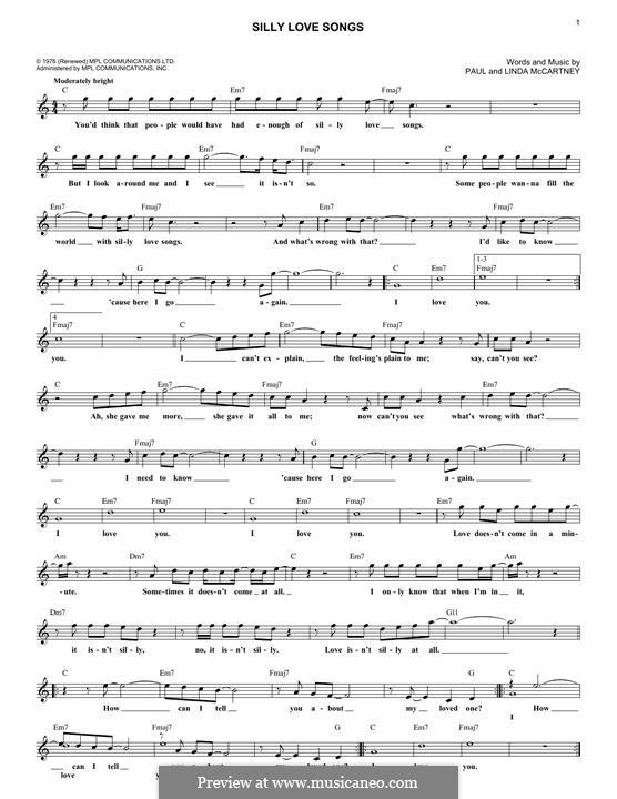 Silly Love Songs (Wings): Melody line by Linda McCartney, Paul McCartney