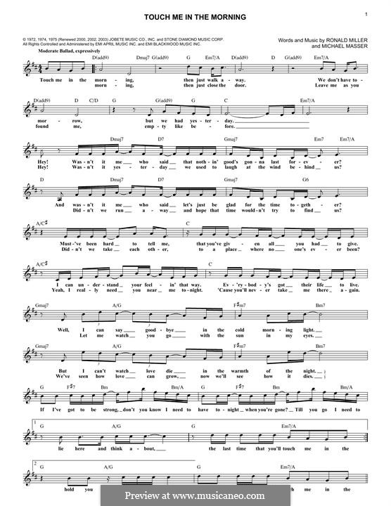 Touch Me in the Morning (Diana Ross): Lyrics and chords by Michael Masser