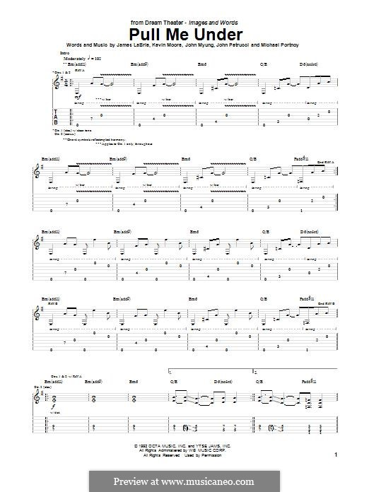 Pull Me Under (Dream Theater): For guitar with tab by Mike Portnoy, John Petrucci, John Myung, James LaBrie, Kevin Moore