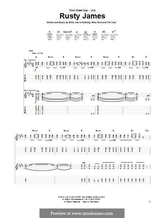 Rusty James (Green Day): For guitar with tab by Billie Joe Armstrong, Tré Cool, Mike Dirnt