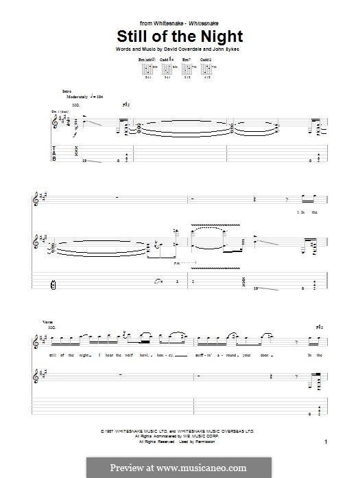 Still of the Night (Whitesnake): For guitar with tab by David Coverdale, John Sykes