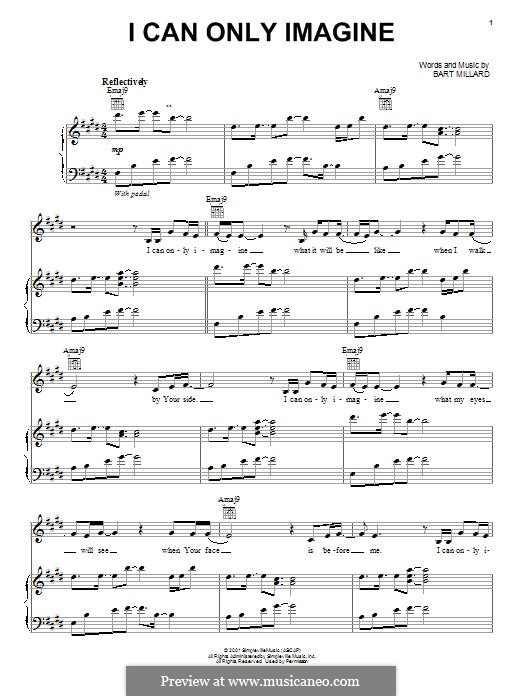 I Can Only Imagine (Mercy Me): For voice and piano (or guitar) by Bart Millard