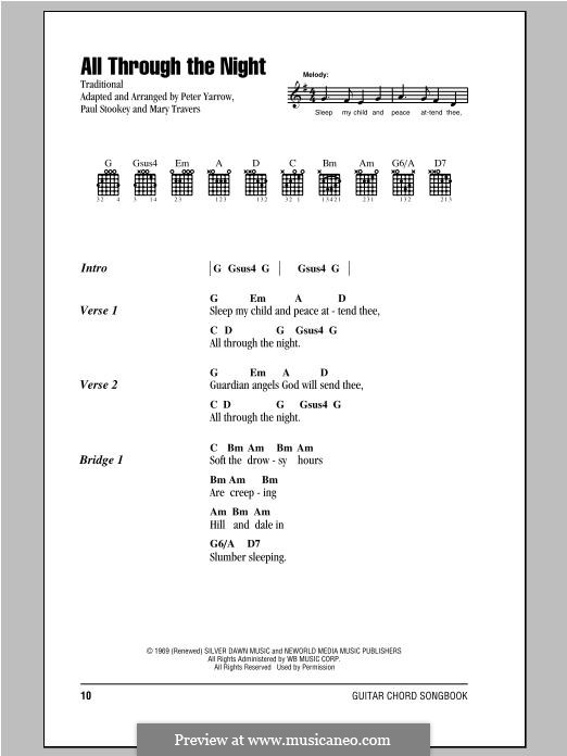 All Through the Night (Peter, Paul & Mary): Lyrics and chords by Paul Stookey, Peter Yarrow, Mary Travers