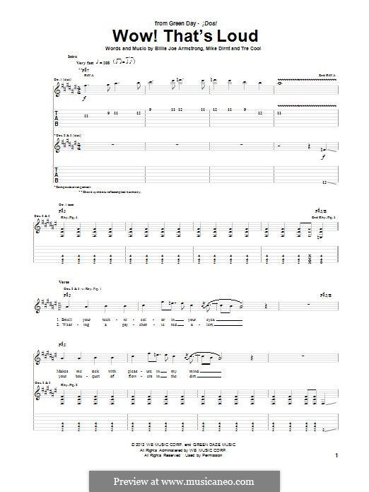 Wow! That's Loud (Green Day): For guitar with tab by Billie Joe Armstrong, Tré Cool, Mike Dirnt
