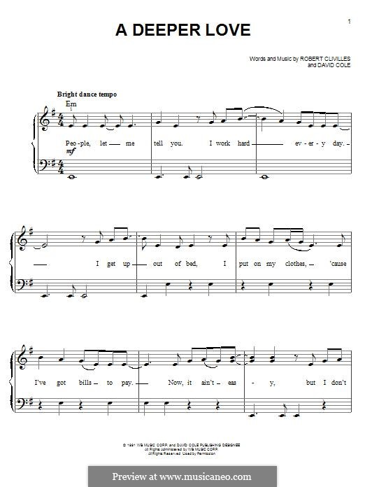 A Deeper Love (Aretha Franklin): For piano by David Cole, Robert Clivilles