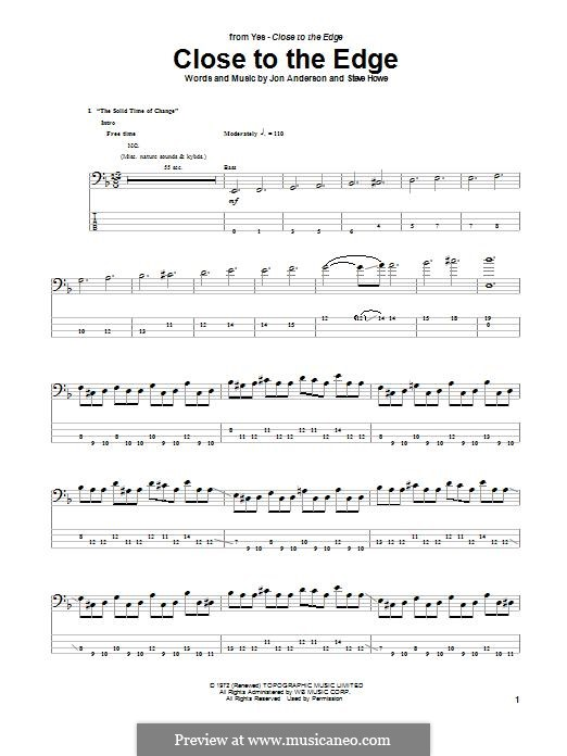 Close to the Edge (Yes): For bass guitar with tab by Jon Anderson, Steve Howe