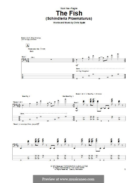 The Fish (Schindleria Praematurus): For bass guitar with tab by Chris Squire
