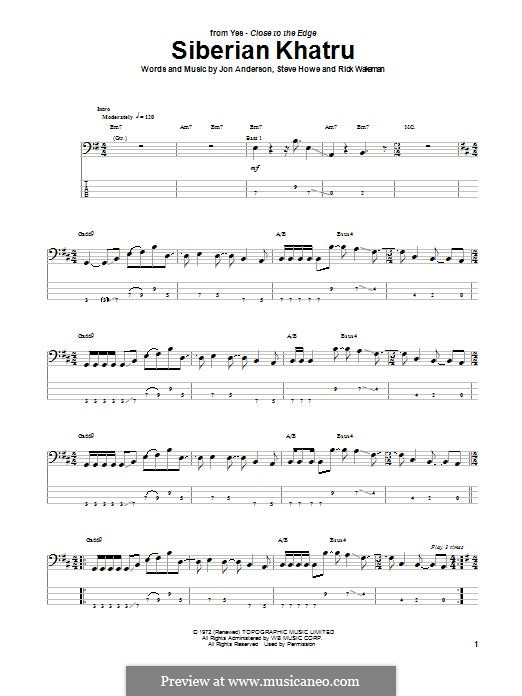 Siberian Khatru (Yes): For bass guitar with tab by Jon Anderson, Steve Howe, Rick Wakeman