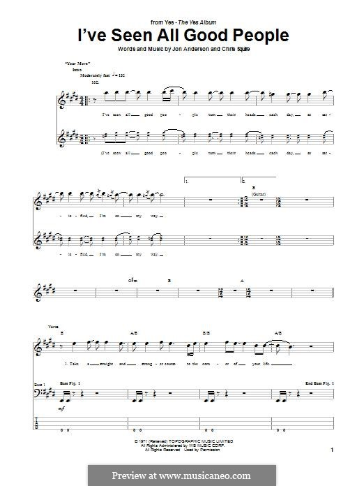 I've Seen All Good People (Yes): For bass guitar with tab by Chris Squire, Jon Anderson