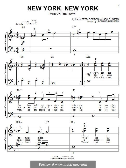 New York, New York (Frank Sinatra): For piano by Leonard Bernstein
