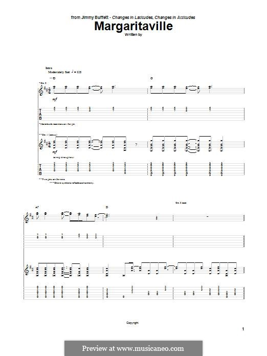 Margaritaville: For guitar with tab by Jimmy Buffett