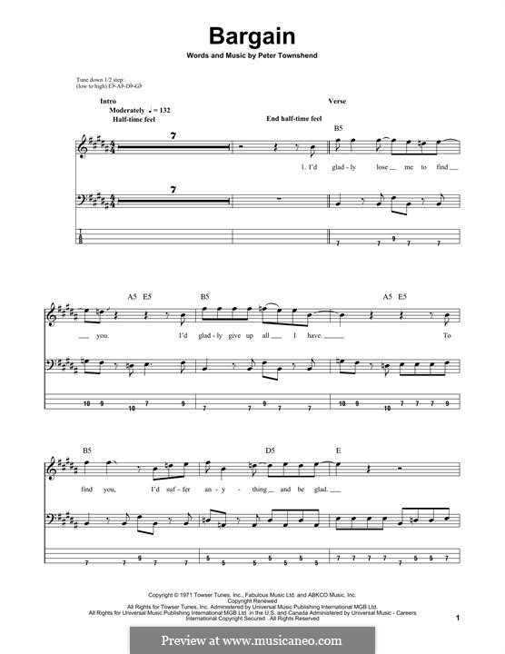 Bargain (The Who): For bass guitar with tab by Peter Townshend