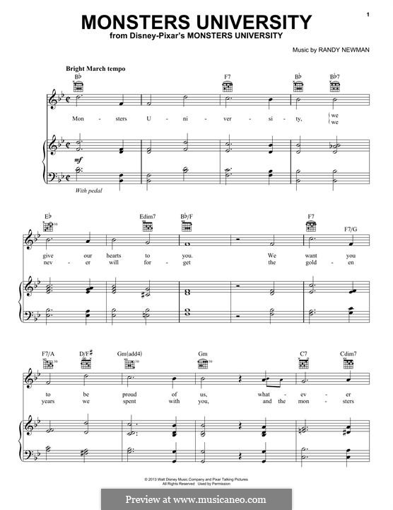 Monsters University: For voice and piano (or guitar) by Randy Newman