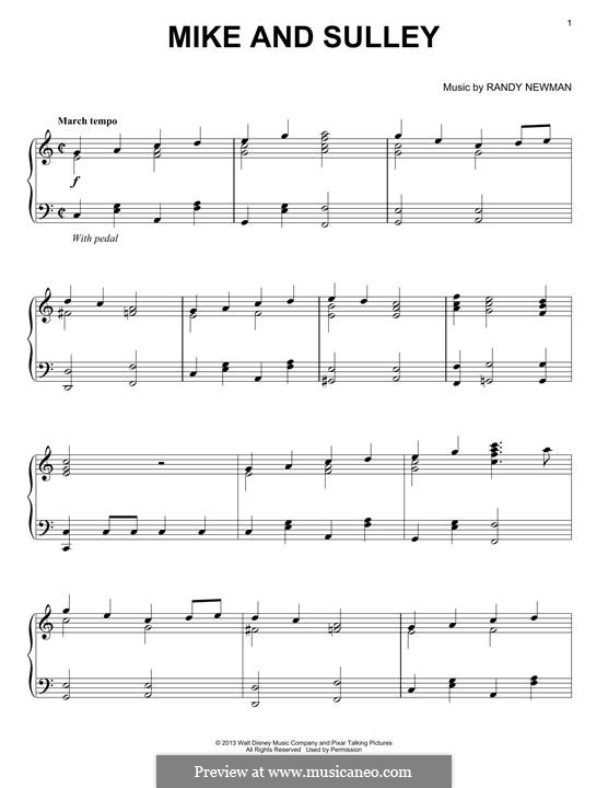 Mike and Sulley: For piano by Randy Newman