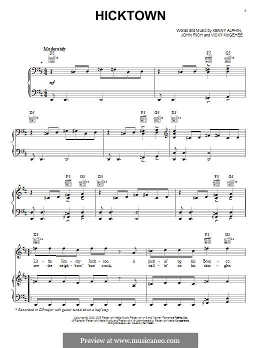 Hicktown (Jason Aldean): For voice and piano (or guitar) by John Rich, Kenny Alphin, Vicky McGehee
