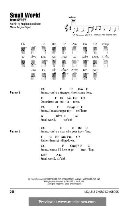 Small World: For ukulele by Jule Styne